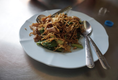 pad see ew with crispy noodles and pork(?)