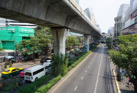 the monorail makes for a wonderful and air conditioned way to get through downtown Bangkok.