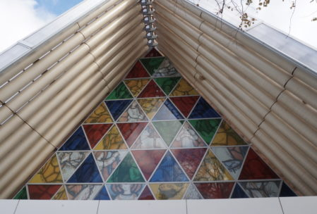 The Christchurch cardboard cathedral, an Anglican church that was built with recycled materials beyond the current requirements for earthquake safety so that the congregation of the half-ruined downtown cathedral would have a place to worship until renovations were complete on their old building.