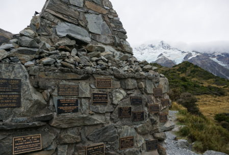 monument to all those who have died in this national park. there are some very technically difficult climbing areas, including Mt Cook, that we will not be attempting.