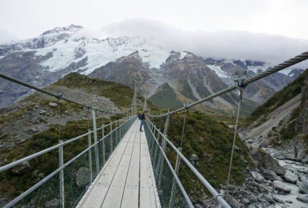 Hooker Valley track has three suspension bridges you must cross and they do sway a bit!
