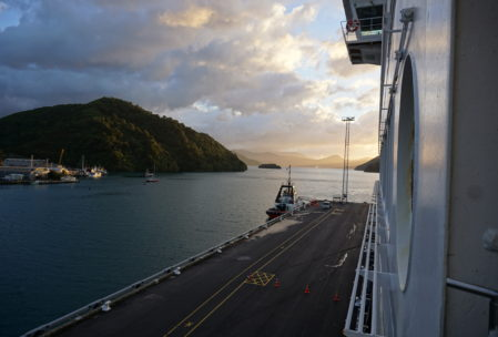 early morning view from our ferry to Wellington