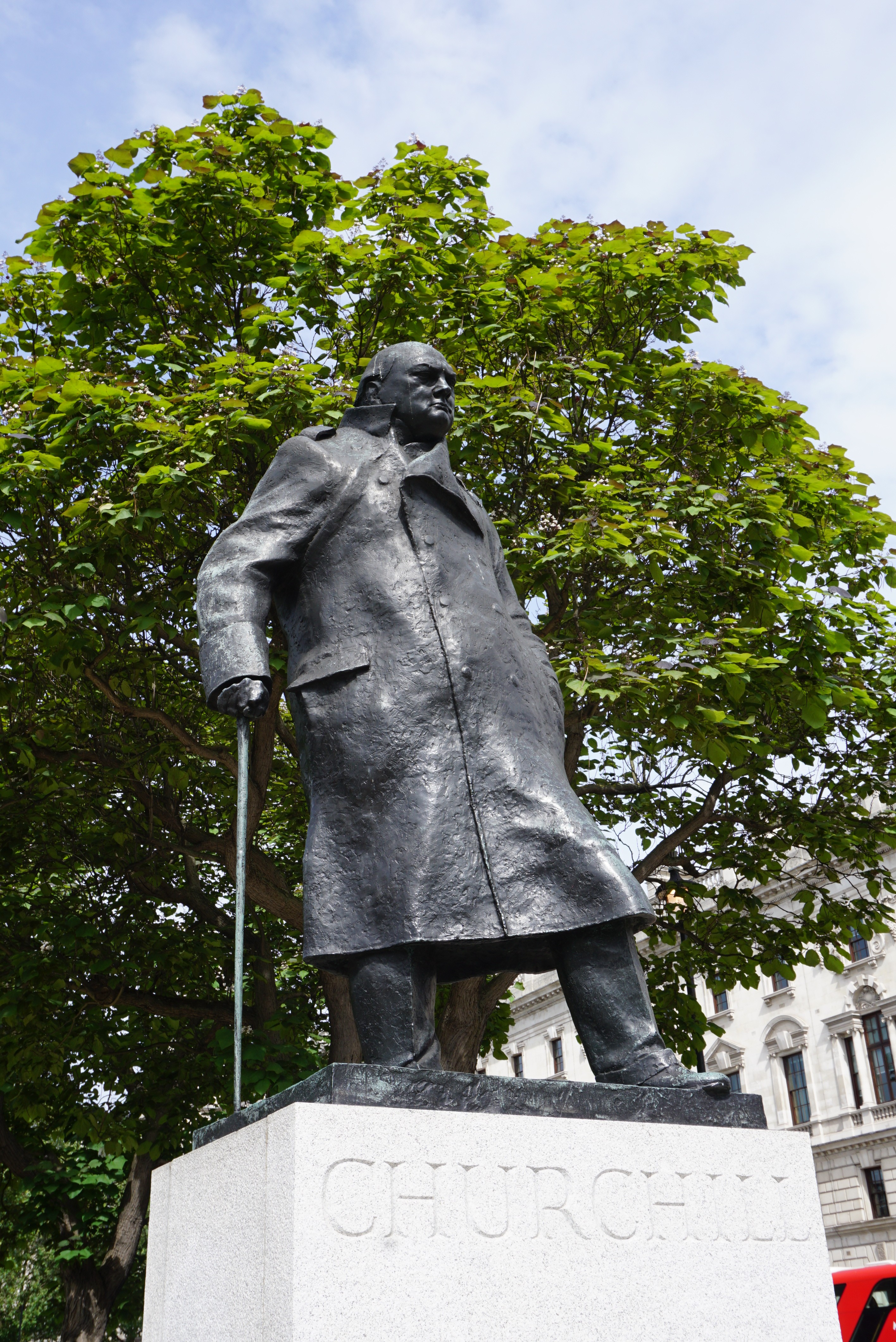 There's a slight electric current that passes through the head of the statue, per Churchill's dying wishes, so that pigeons wouldn't poop on his head. Let the man have his dignity.