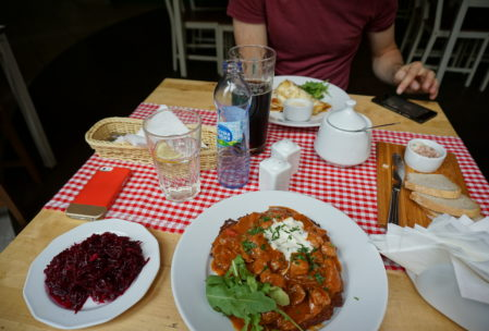 I never thought I'd say this but Polish beet salad is so perfect with meat. Or in this case, pork goulash served over top a fried potato cake.